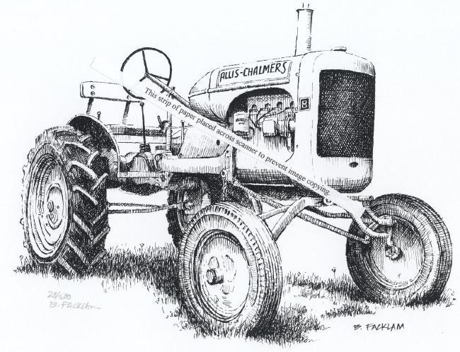 Allis Chalmers Tractor Clip Art : Allis chalmers model b farm tractor signed print