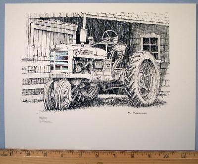 Cockshutt Tractor ~ Embossed Tin Picture Thermometer
