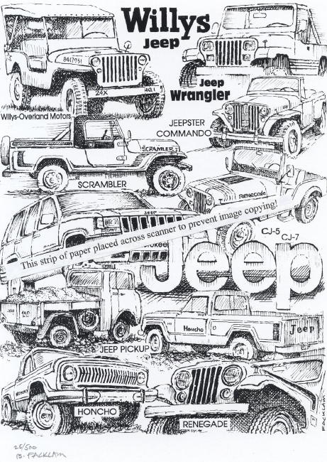 Vintage Jeep Collage Signed Print
