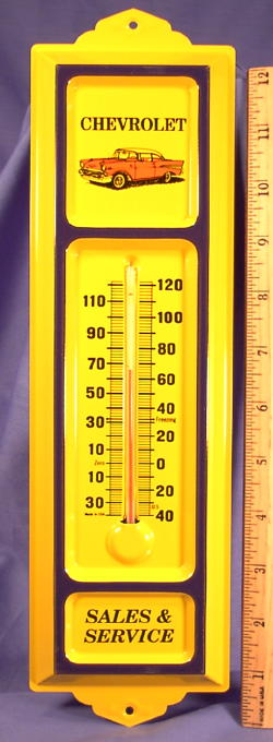 /'57 Chevy ~ Embossed Tin Advertising Thermometer