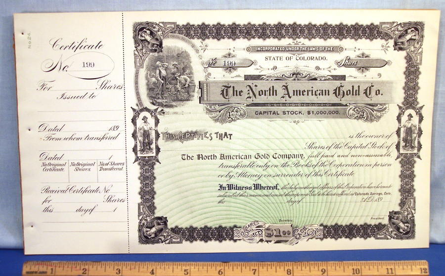 1890\'s Gold Mine Stock Certificate ~ With the issuing stub!