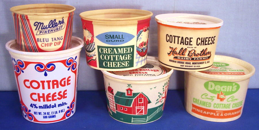 Waxed Cottage Cheese Containers 1950s 1960s Unusual Flavors